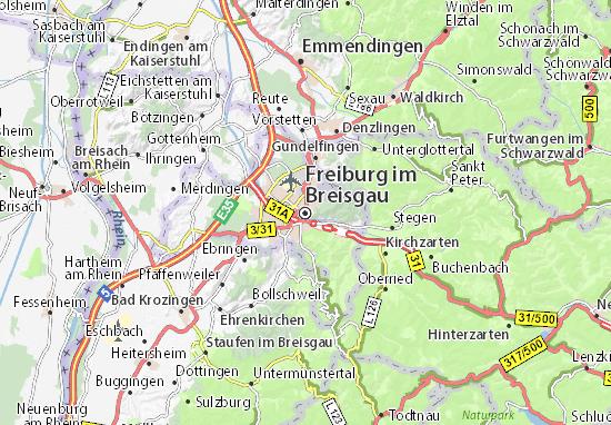 Kaart Plattegrond Freiburg im Breisgau