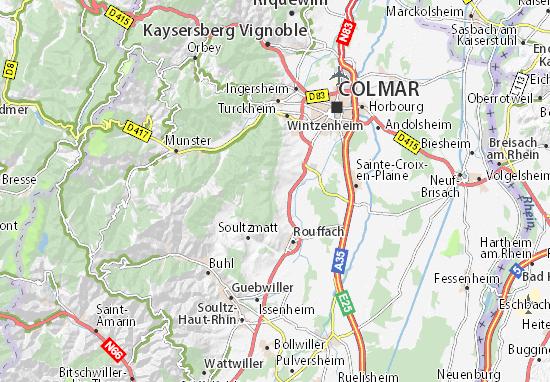 Carte Alsace Ungersheim.Carte Detaillee Gueberschwihr Plan Gueberschwihr Viamichelin