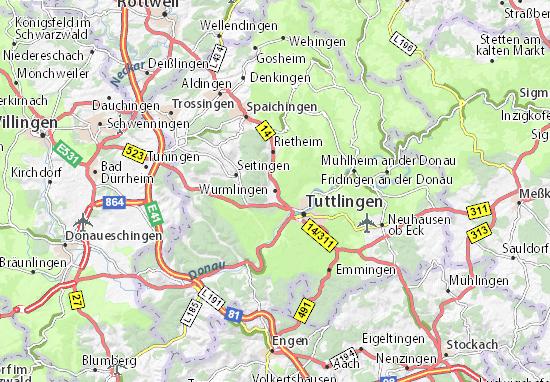 Karte Stadtplan Wurmlingen
