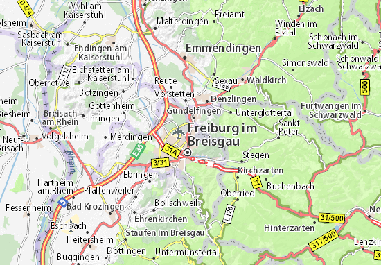 Freiburg Karte Stadtteile.Karte Stadtplan Zähringen Viamichelin