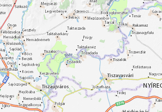 Mapa Tiszadada