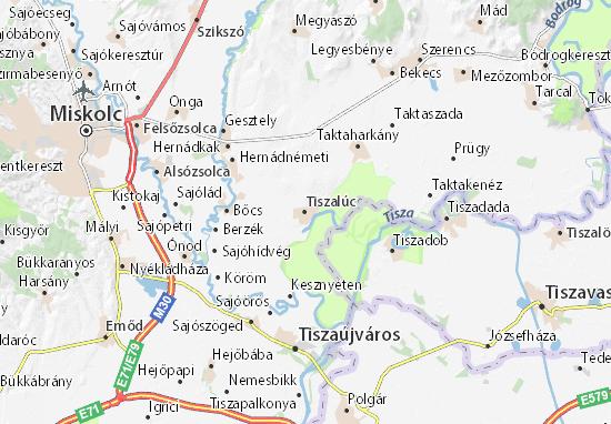 Tiszalúc Map
