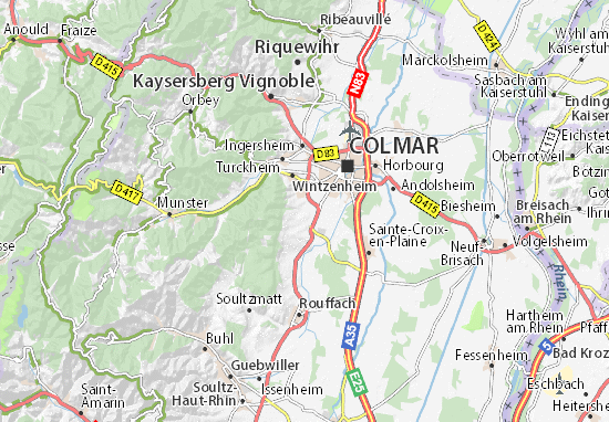Elsass Karte Zum Ausdrucken.Karte Stadtplan Eguisheim Viamichelin