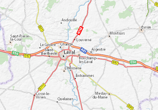 Kaart Plattegrond Bonchamp-lès-Laval