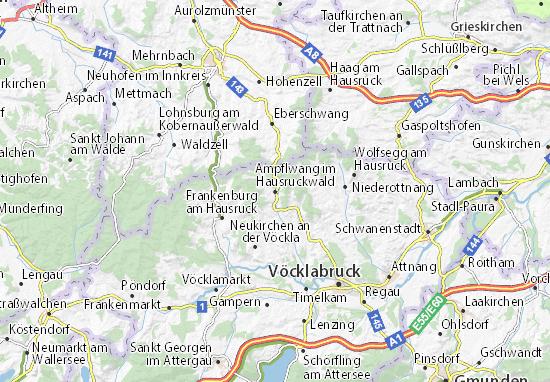 Karte Stadtplan Ampflwang im Hausruckwald