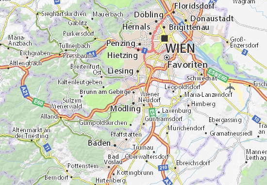 Karte Stadtplan Brunn am Gebirge