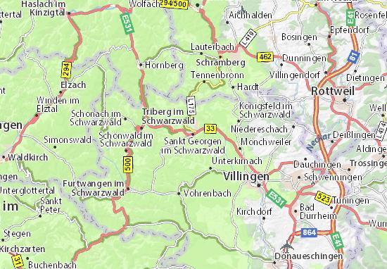 Karte Stadtplan Sankt Georgen im Schwarzwald