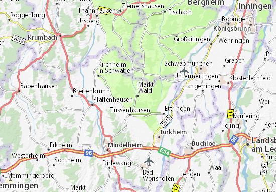 Karte Stadtplan Markt Wald