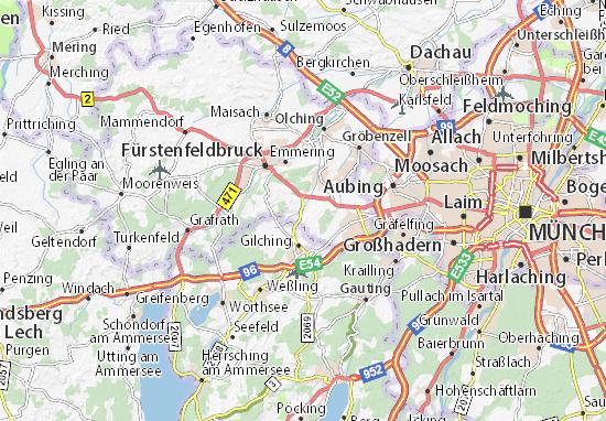 Karte Stadtplan Alling