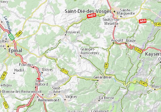Kaart Plattegrond Granges-Aumontzey