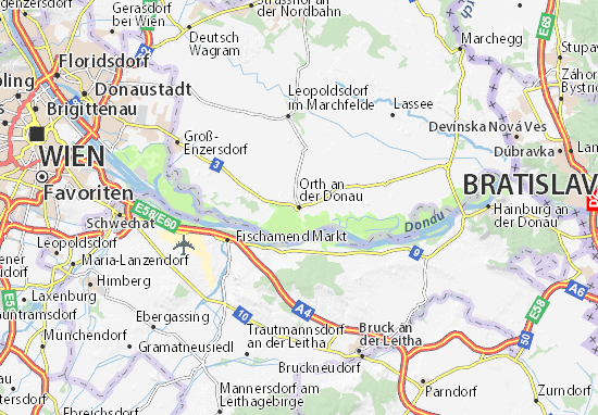 Karte Stadtplan Orth an der Donau