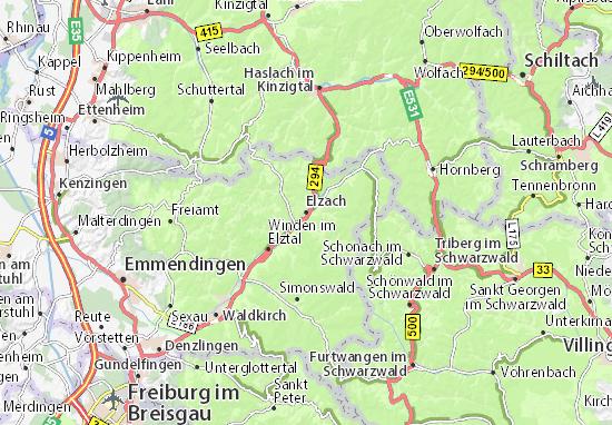 Kaart Plattegrond Elzach