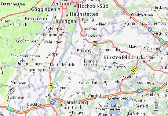 Karte Stadtplan Egling an der Paar