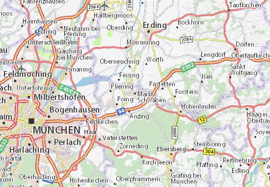 Schwaben Karte.Karte Stadtplan Markt Schwaben Viamichelin