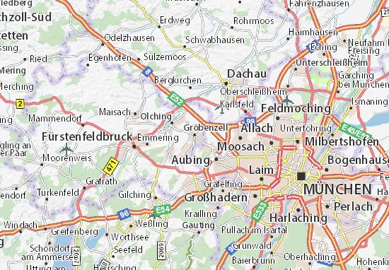 Karte Stadtplan Gröbenzell