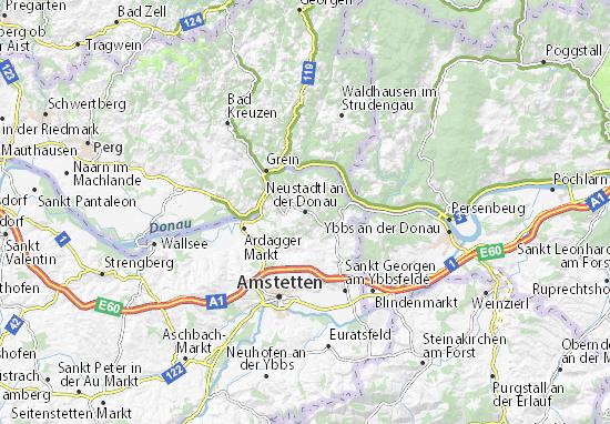 Kaart Plattegrond Neustadtl an der Donau