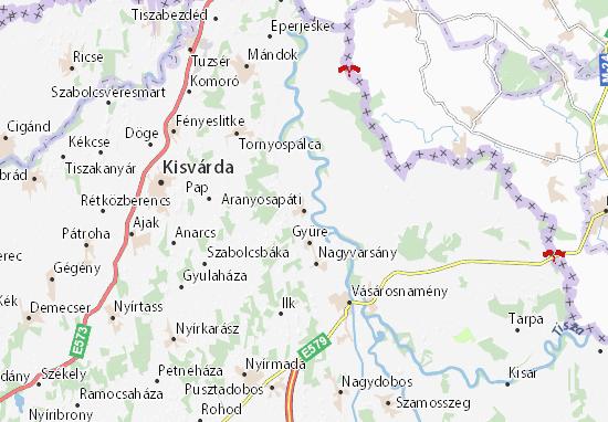 Aranyosapáti Map