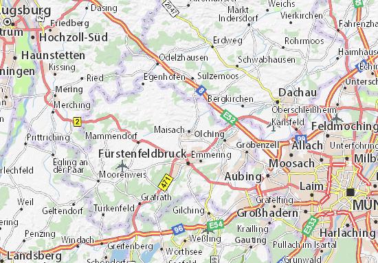 Karte Stadtplan Maisach