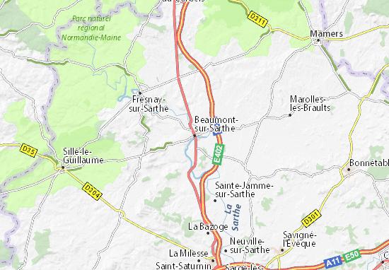 Carte-Plan Beaumont-sur-Sarthe