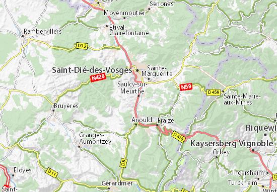 Kaart Plattegrond Saulcy-sur-Meurthe
