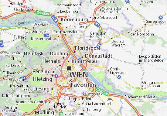 Karte Stadtplan Donaustadt