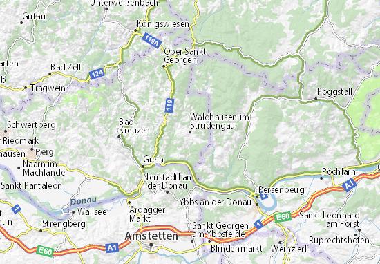 Kaart Plattegrond Waldhausen im Strudengau
