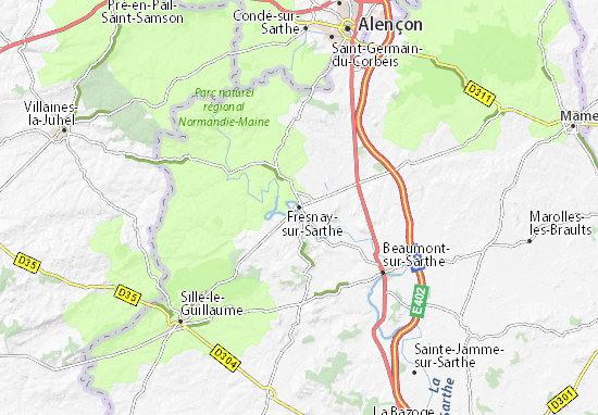 Kaart Plattegrond Fresnay-sur-Sarthe