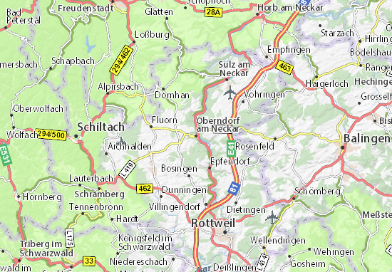 Karte Stadtplan Oberndorf am Neckar