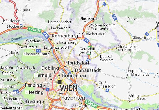 Karte Stadtplan Gerasdorf bei Wien