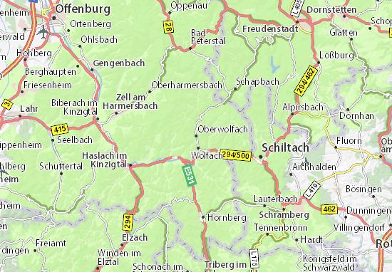 Karte Stadtplan Oberwolfach