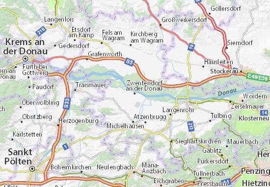 Karte Stadtplan Zwentendorf an der Donau