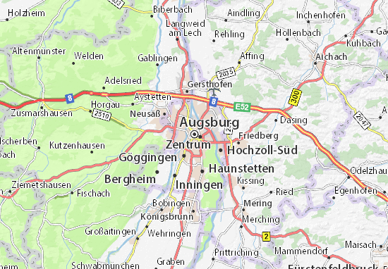 Map Of Germany Ulm.Augsburg Map Detailed Maps For The City Of Augsburg Viamichelin