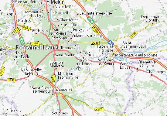 Kaart Plattegrond Moret-sur-Loing