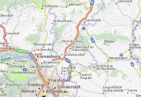Karte Stadtplan Wolkersdorf im Weinviertel