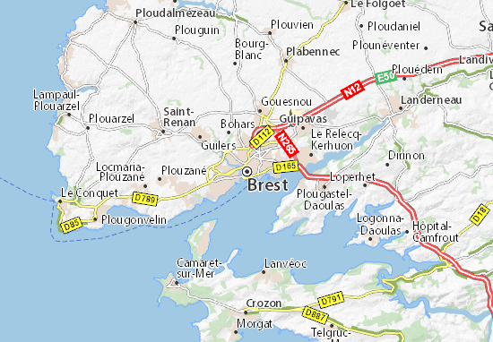 map of brest michelin brest map viamichelin