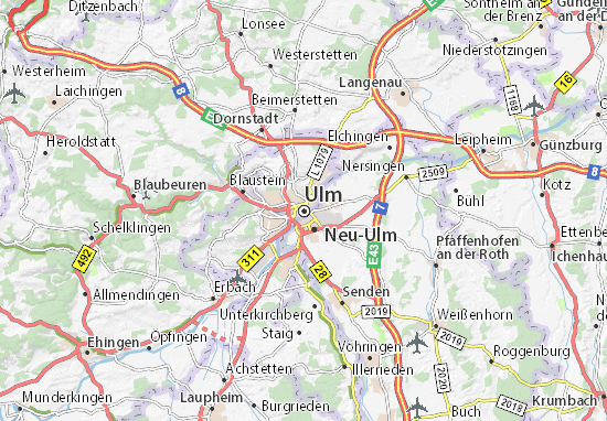 ulm karta Map of Ulm   Michelin Ulm map   ViaMichelin ulm karta