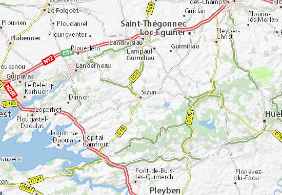 Sizun Map