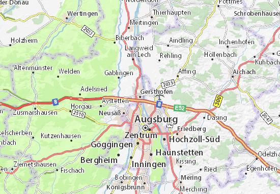 Kaart Plattegrond Gersthofen