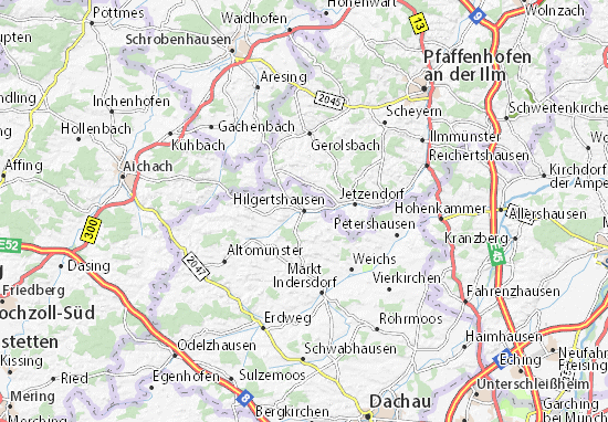 Karte Stadtplan Hilgertshausen