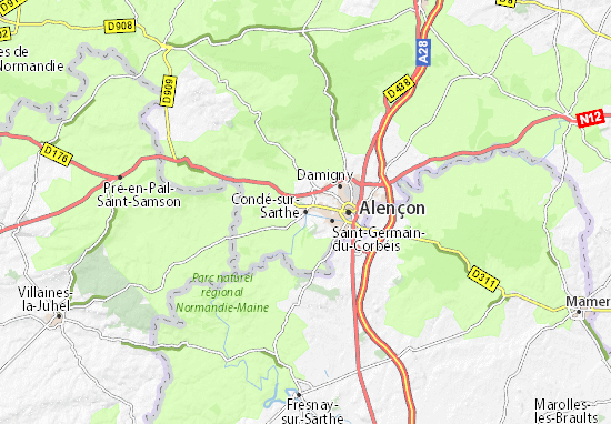 Karte Stadtplan Condé-sur-Sarthe