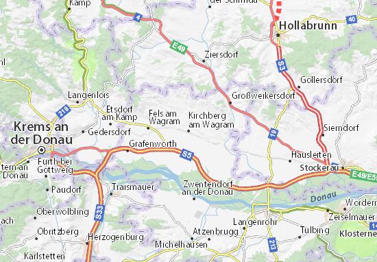 Kaart Plattegrond Kirchberg am Wagram