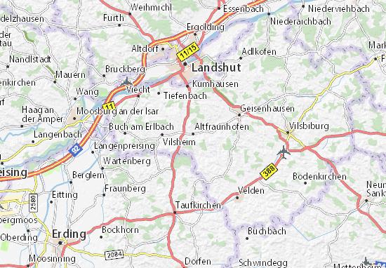 Karte Stadtplan Altfraunhofen