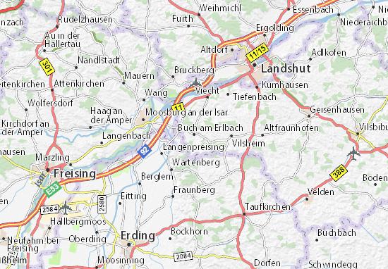 Karte Stadtplan Buch am Erlbach