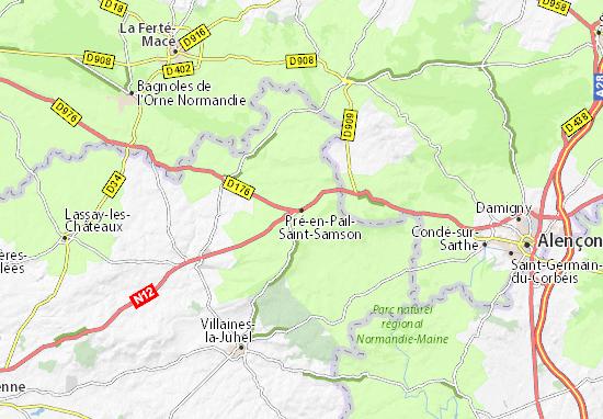 Carte-Plan Pré-en-Pail-Saint-Samson