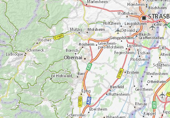 Kaart Plattegrond Obernai