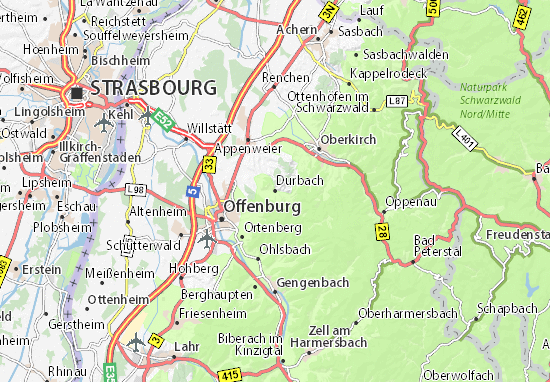 Karte Stadtplan Durbach