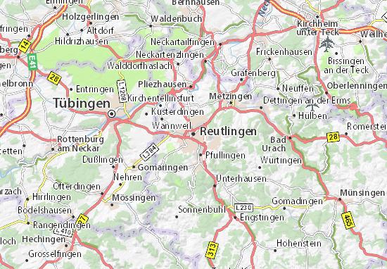 map of reutlingen michelin reutlingen map viamichelin. Black Bedroom Furniture Sets. Home Design Ideas