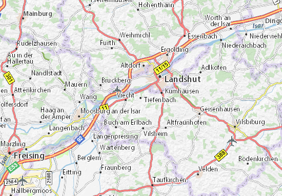 Karte Stadtplan Tiefenbach