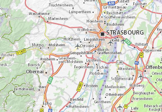 Kaart Plattegrond Geispolsheim