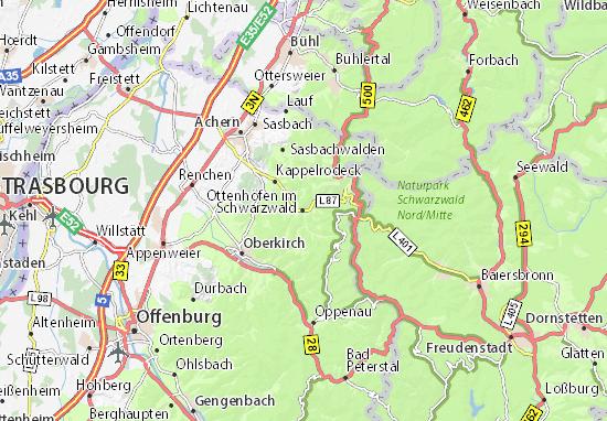 Karte Stadtplan Ottenhöfen im Schwarzwald